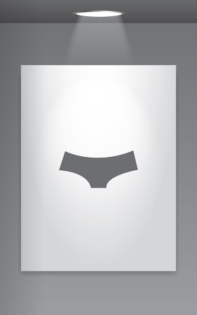 briefs: A Grey Icon Isolated on Gallery Wall - Womens Briefs