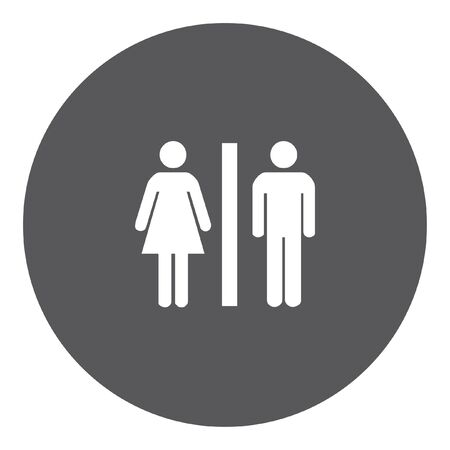 toilet sign: A White Icon Isolated on a Grey Background - Toilet