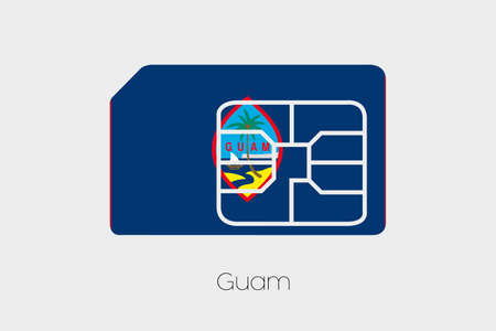 guam: A SIM Card Flag Illustration of the country of Guam