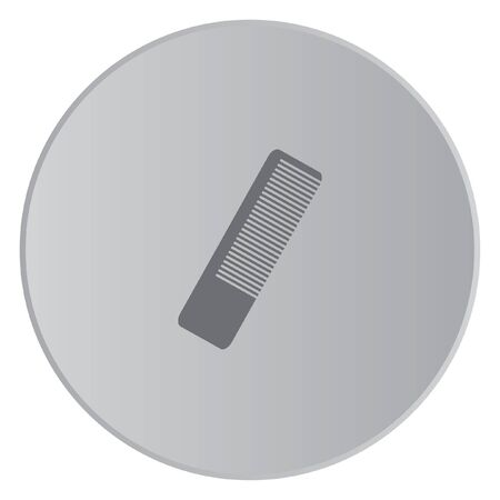 hairbrush: A Grey Icon Isolated on a Button with Grey Background - Hairbrush Stock Photo