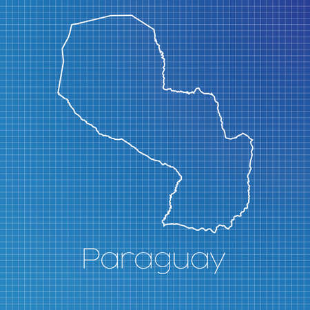 schematic: A Schematic outline of the country of Paraguay Stock Photo