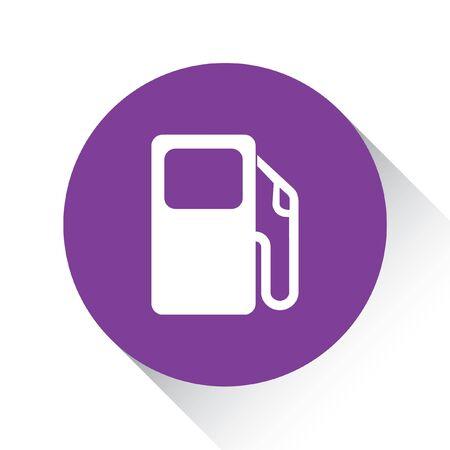 surtidor de gasolina: Un icono p�rpura aislado en un fondo blanco - bomba de gasolina Foto de archivo