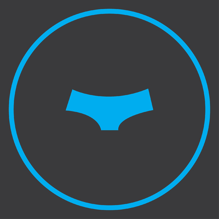 briefs: A Blue Icon Isolated on a Grey Background inside a circle - Womens Briefs Stock Photo