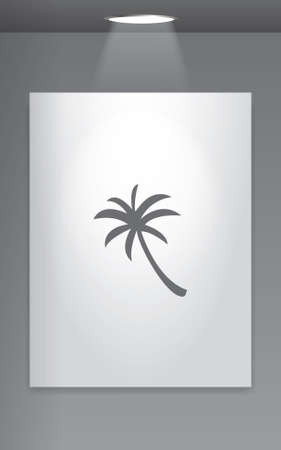 palmtree: A Grey Icon Isolated on Gallery Wall - Palmtree