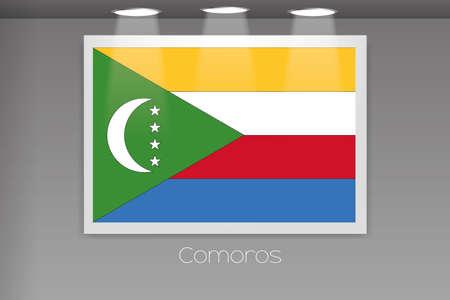 comoros: A Flag Isolated on Gallery Wall of Comoros