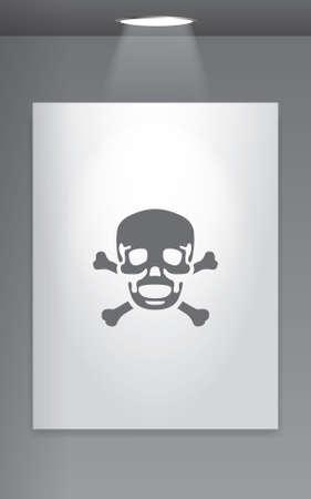 cross bones: A Grey Icon Isolated on Gallery Wall - Skull and Cross Bones