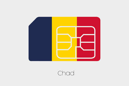 chad: A SIM Card Flag Illustration of the country of Chad