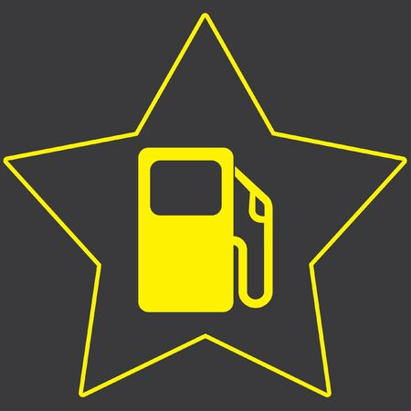 bomba gasolina: A Yellow Icon Isolated on a Grey Background inside a star - Petrol Pump Foto de archivo
