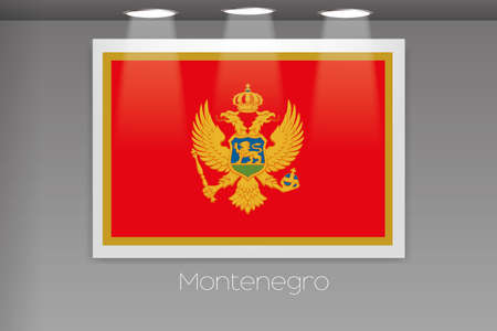 montenegro: A Flag Isolated on Gallery Wall of Montenegro