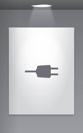 wall plug: A Grey Icon Isolated on Gallery Wall - Plug Stock Photo