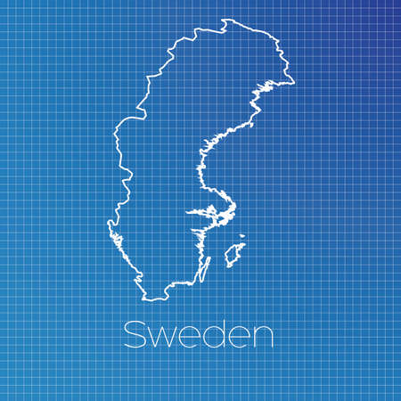 schematic: A Schematic outline of the country of Sweden Stock Photo
