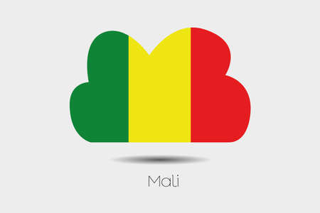 mali: A Flag Illustration inside a cloud of the country of Mali Stock Photo