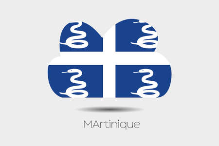 martinique: A Flag Illustration inside a cloud of the country of Martinique