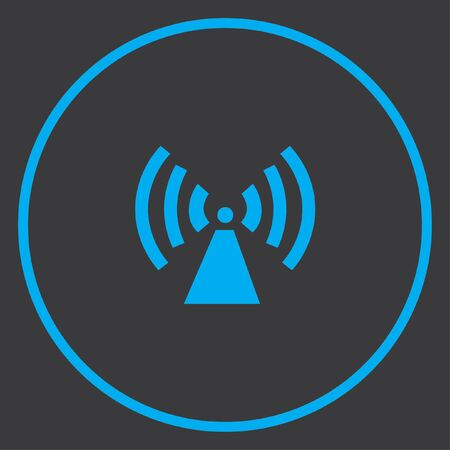 radio tower: A Blue Icon Isolated on a Grey Background inside a circle - Radio Tower