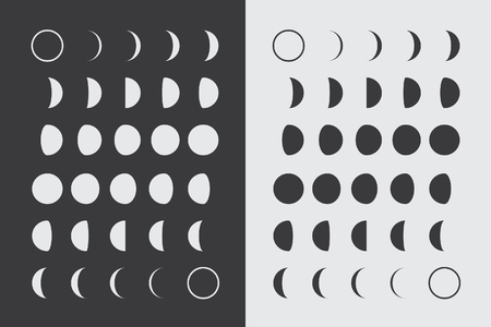 solar eclipse: Illustrated Flat Lunar phases