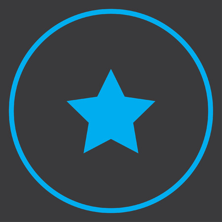 pointed: A Blue Icon Isolated on a Grey Background inside a circle - 5 Pointed Star