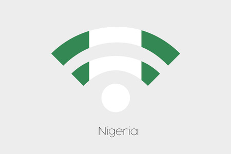country nigeria: A Flag Illustration inside a Networking Icon of the country of Nigeria