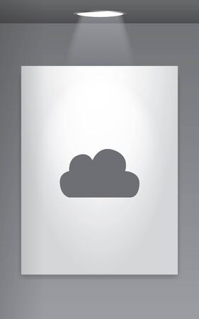 wall cloud: A Grey Icon Isolated on Gallery Wall - Cloud