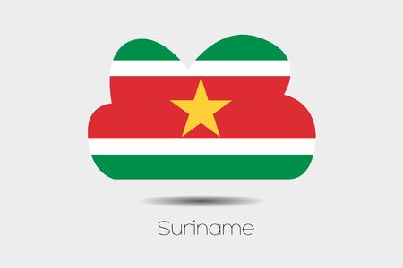 suriname: A Flag Illustration inside a cloud of the country of Suriname Stock Photo