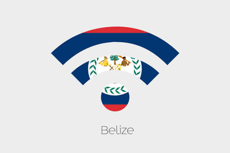 belize: A Flag Illustration inside a Networking Icon of the country of Belize