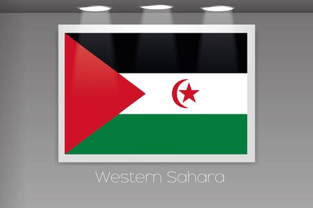 western wall: A Flag Isolated on Gallery Wall of Western Sahara Stock Photo