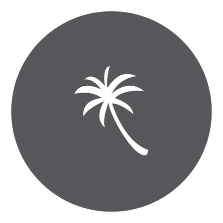 palmtree: A White Icon Isolated on a Grey Background - Palmtree