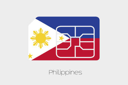 media network: A SIM Card Flag Illustration of the country of Philippines