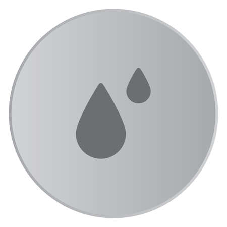 raindrop: A Grey Icon Isolated on a Button with Grey Background - Raindrops