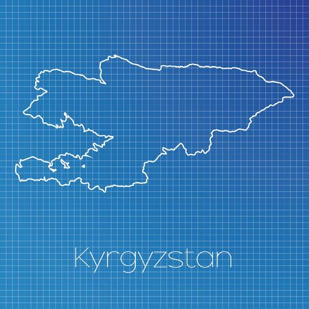 schematic: A Schematic outline of the country of Kyrgyzstan