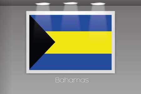 bahamas: A Flag Isolated on Gallery Wall of Bahamas Stock Photo
