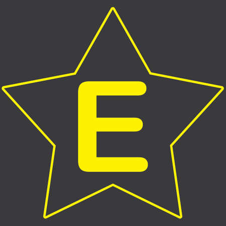e market: A Yellow Icon Isolated on a Grey Background inside a star - E