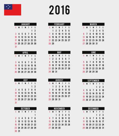 samoa: A 2016 Calendar with the Flag of Western Samoa Stock Photo