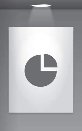 exploded: A Grey Icon Isolated on Gallery Wall - Pie Chart Exploded Stock Photo