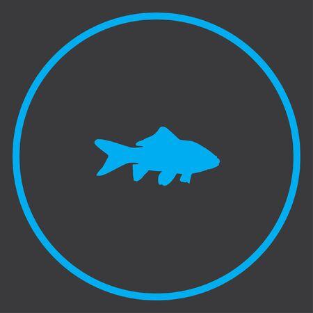 peces de colores: Un icono azul aislado en un fondo gris dentro de un c�rculo - Goldfish