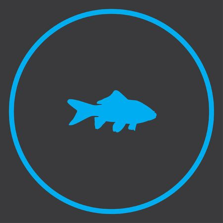 pez dorado: Un icono azul aislado en un fondo gris dentro de un c�rculo - Goldfish