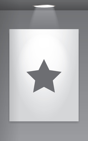 pointed: A Grey Icon Isolated on Gallery Wall - 5 Pointed Star