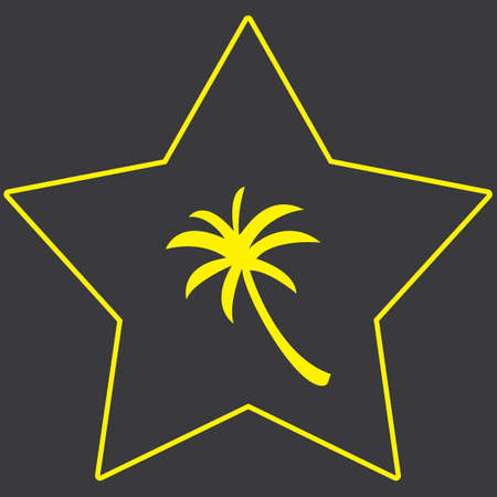 palmtree: A Yellow Icon Isolated on a Grey Background inside a star - Palmtree