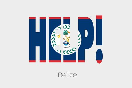 belize: A Flag Illustration inside the word Help of the country of Belize Stock Photo