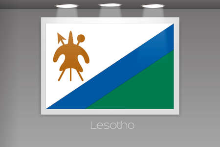 lesotho: A Flag Isolated on Gallery Wall of Lesotho
