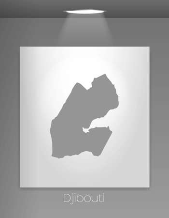 djibouti: A Gallery Illustration with the country shape of Djibouti