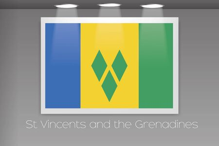 grenadines: A Flag Isolated on Gallery Wall of Saint Vincents and the Grenadines