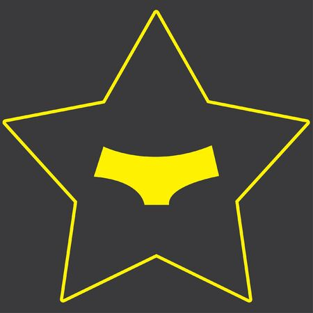briefs: A Yellow Icon Isolated on a Grey Background inside a star - Womens Briefs