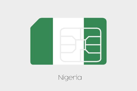 country nigeria: A SIM Card Flag Illustration of the country of Nigeria Stock Photo