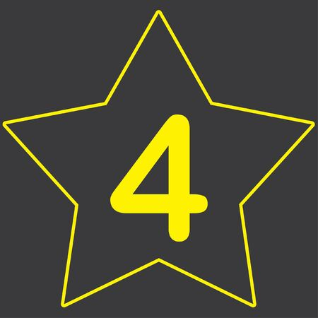 4 star: A Yellow Icon Isolated on a Grey Background inside a star - 4