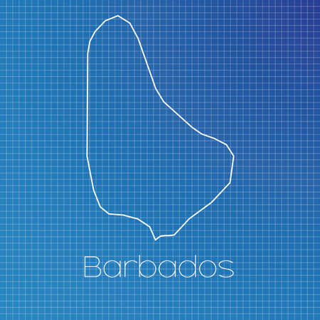 schematic: A Schematic outline of the country of Barbados Stock Photo