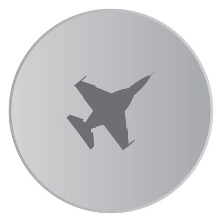 fighter jet: A Grey Icon Isolated on a Button with Grey Background - Fighter Jet
