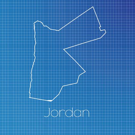 schematic: A Schematic outline of the country of Jordan Stock Photo