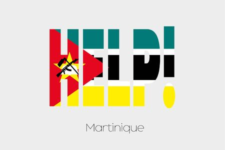 A Flag Illustration inside the word Help of the country of Mozambique