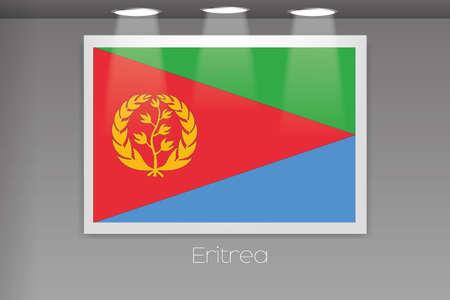 eritrea: A Flag Isolated on Gallery Wall of Eritrea Stock Photo