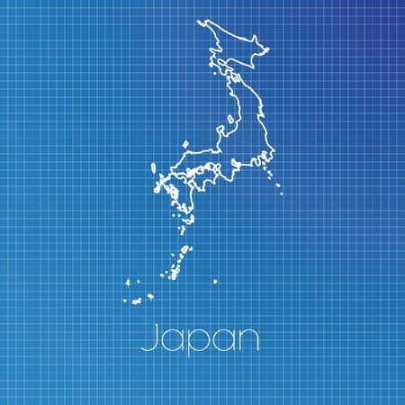 schematic diagram: A Schematic outline of the country of Japan Stock Photo
